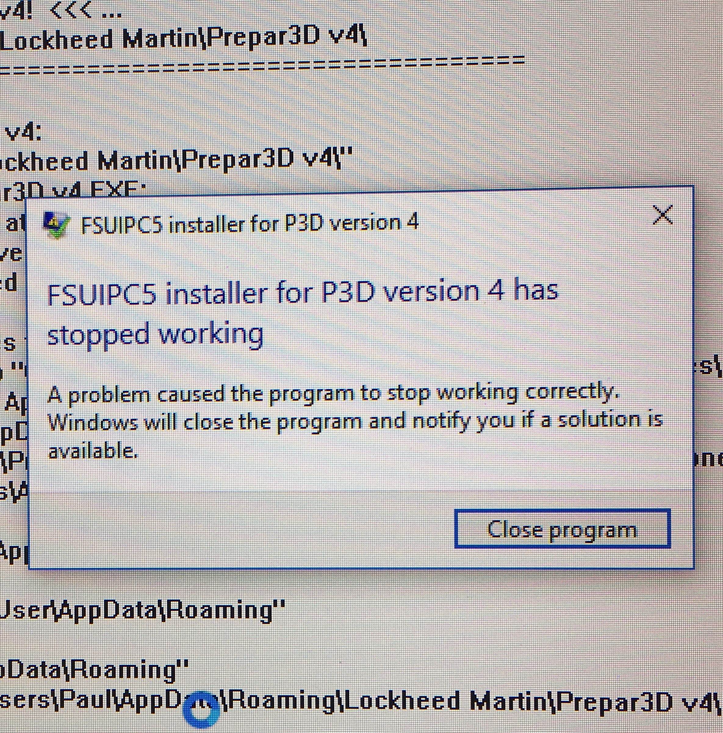 FSUIPC is not showing up in Prepar3d 4 1 - FSUIPC Support